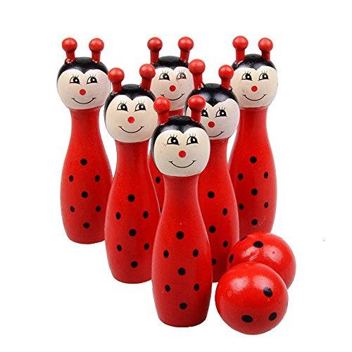 Needra Cartoon Wooden Bowling Balls Children Animals Outdoor Fun & Sports Game Toy (Red)