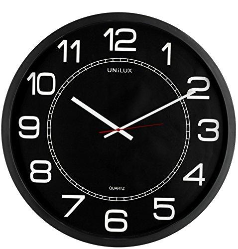 UNILUX 400094568 riesen Wanduhr Mega in schwarz - große Wanduhr, deutsche Präzision mit Quarzwerk, Analoge Uhr für große Räume