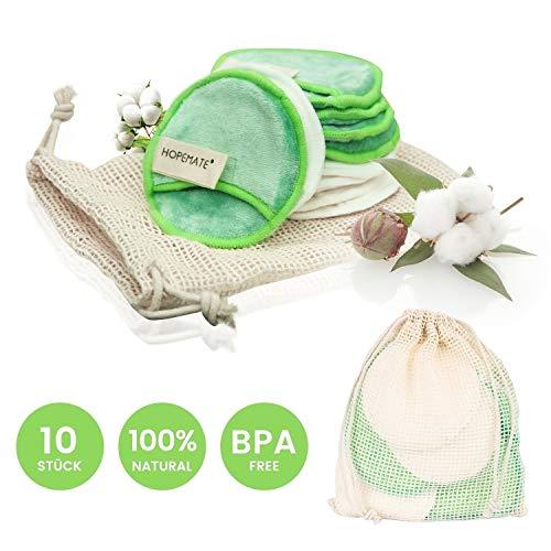 Waschbar Abschminkpads aus Bambus und Samt, Wiederverwendbare Super Adsorptionskraft Makeup Entferner Pads,Superweich,Zero Waste-Lifestyle, Perfekt für Gesichtsreinigung und Baby(10 Stück) -