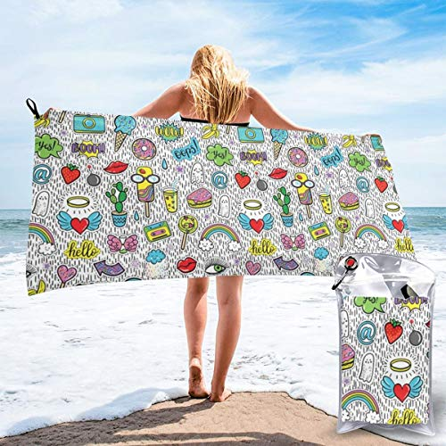 Pop Art Hand Drawn Cartoon Style Eye Ice Cream Rainbow Donut Lip Heart Banana Ghost Beach Bath Towel Fast Drying Absorbent Towels for Camping, Backpacking, Gym, Sports, and Swimming 27.5