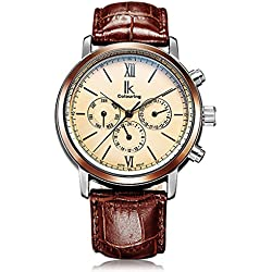 Alienwork IK mechanische Automatik Armbanduhr Multi-funktion Automatikuhr Uhr weiss braun Metall 98528G-06