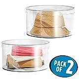 mDesign Set da 2 Contenitori plastica con coperchio – Pratiche scatole plastica per organizzare la casa – Portaoggetti per indumenti, cinture, cosmetici, giochi, accessori – trasparente