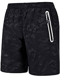 CLOUSPO Sporthose kurz Herren schwarz blau Soft weich Komfort schnell trockend mit Reißverschlusstasche Sport Shorts Jogginghose kurz Trainingsshorts für Laufsport, Outdoor Sport, Jogging, Workout