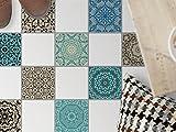 Fliesenfolie für Boden Fliesen | Sticker Aufkleber Folie für Bodenfliesen - Bad Oder Küche | Fliesenaufkleber als Alternative zu Fliesenfarbe | 10x10 cm - Design Marokkanisch
