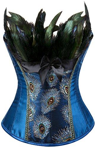 EUDOLAH Damen Vintage Gothic Corsage Burlesque Vollbrust Korsett Korsagenkleid mit Rock Petticoat Halloween Kostüme Pfau Pattern mit Federn Übergrößen A-Blau S