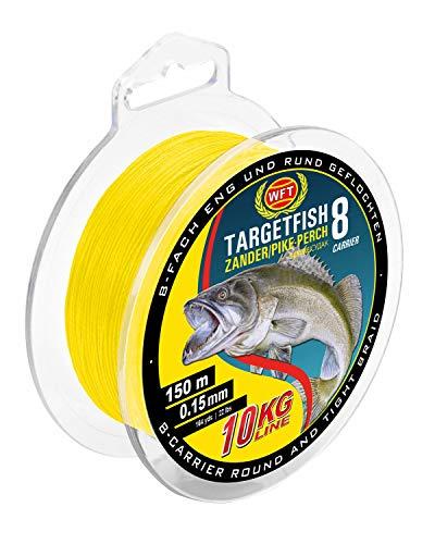 WFT TF8 Zander yellow 150m - Angelschnur zum Zanderangeln, geflochtene Schnur, Zanderschnur zum Spinnfischen, Durchmesser/Tragkraft:0.15mm / 10kg Tragkraft