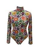 Guiran Damen Body Bodysuit Jumpsuit Langarm-Body Blumenmuster Overall Eleganter Blumen XL