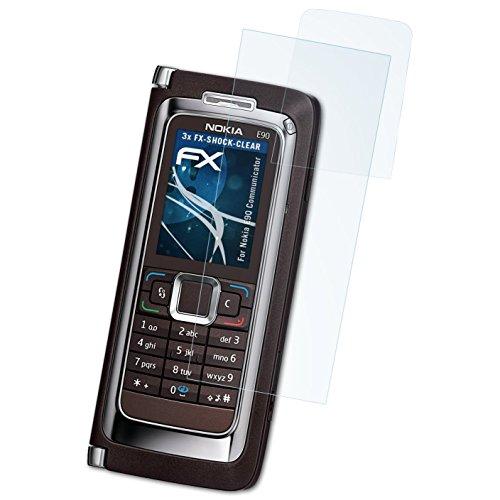 atFolix Schutzfolie kompatibel mit Nokia E90 Communicator Panzerfolie, ultraklare und stoßdämpfende FX Folie (3er Set) Nokia Communicator