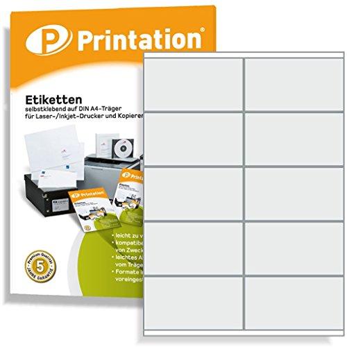 Universal Etiketten 1000 Stück 105 x 57 mm selbstklebend weiß bedruckbar - 100 A4 Bogen à 2x5 105x57 Labels - 3425 4425 LA161