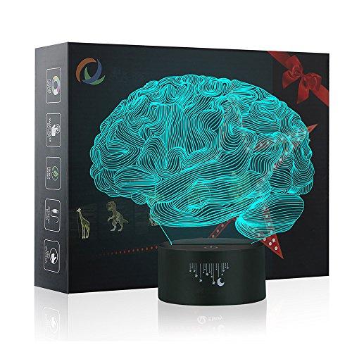Gehirn 3D Lampe Optische LED Täuschung Nachtlicht,Yunplus 7 Farbwech ändern Berühren Sie Botton Schreibtisch Lampe Tischleuchte