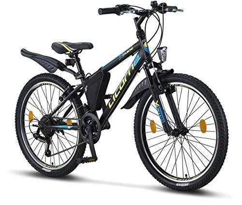 Licorne Bike Guide (Schwarz/Blau/Lime), 24 Zoll Kinderfahrrad, geeignet für 8, 9, 10, 11 Jahre, Shimano 21 Gang-Schaltung, Mountainbike mit Gabelfederung, Jungen-Mädchen-Fahrrad, Beleuchtung