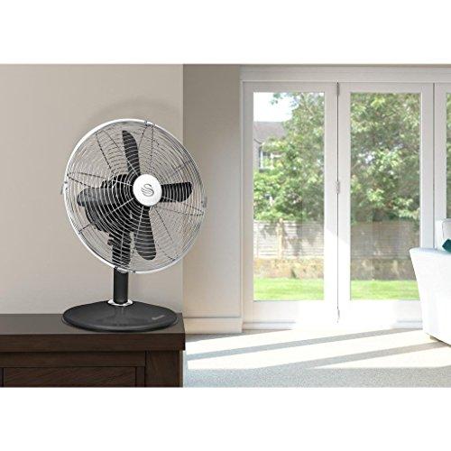 51bCeyrIt%2BL. SS500  - Swan SFA12630BLN, Retro 8 Inch Floor / Desk Clock Fan, Low Noise, Aluminium Blades, 20w, Blue