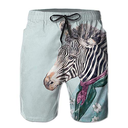 KLYDH Zebra Blue Classic Summer Casual Beach Board Shorts Pants for Men Youth (Royal Blue Mesh Classic Shorts)