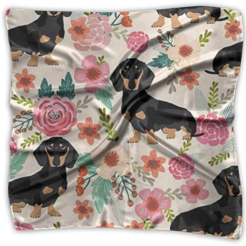 Hoklcvd Dog And Flower Printed Square, Silk Scarf Square, Small Handkerchief,Print 100% Silk.