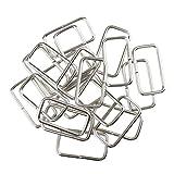 B Baosity 20x Metall Dee Metallring Square Buckle Bag Strap Connector Gurtband Ringe für DIY Geldbörse Machen - Silber, 32x16x2.8mm