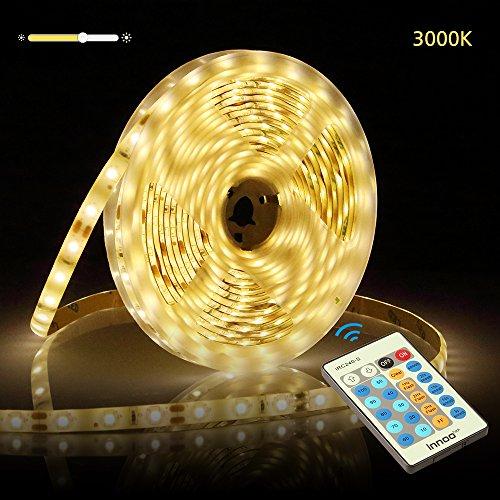 InnooLight 5m LED Strip, 300LEDs IP65 wasserfest warmweiss selbstklebend, 2835 LED Streifen mit Fernbedienung, 3000K Warmweiß, für einstellbar Helligkeit