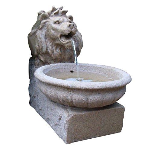Ubbink fontana–basilea–acqua gioco testa di leone (sabbia effetto pietra) in poliresina con led