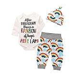 Neonata Ragazze Completini Manica Lunga Pagliaccetto Lettera Tuta Body Cime + Arcobaleno Pantaloni Cappello Bambina Set (Bianco, 6 Mesi)