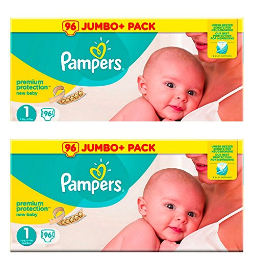 Pampers Newborn Baby Nappies size 1 Premium Protection New Baby Giant Value Pack 2 x 96=192 Designed Especially for Your Babys Delicate Skin, 51bCg4gqCxL