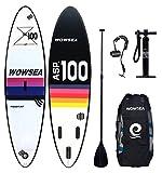 WOWSEA Tabla Hinchable Paddle Surf/ SUP Paddel Surf con Inflador, Mochila, Kit de Reparación, Remo, Correa Elástico Flexible(color aleatoriamente) - 305 * 80 *12cm