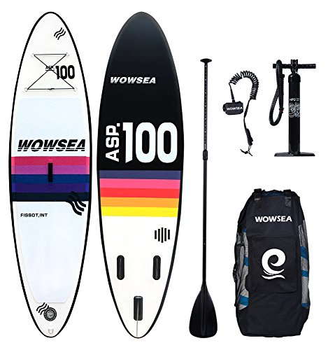 WOWSEA SUP Aufblasbares PVC Stand-up Paddel Board - 305 x 81 x 15 cm - Dualer Pumpe, Rucksack, Composite-Paddel, Fuß Seil