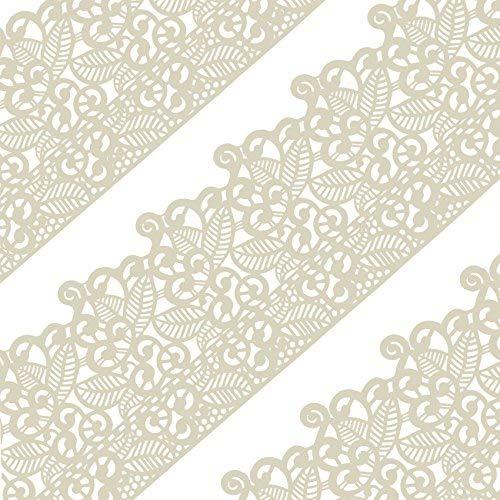 musykrafties Groß Vorgefertigt Gebrauchsfertig Essbarer Kuchen Spitze Blatt Blättern 14-inch 20-Piece Set - Elfenbein Weiß (Essbare Kuchen-blätter)