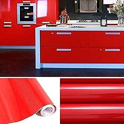 KINLO Papier Peint Auto-Adhésif 5 x 0.61M Rouge pour Armoire de Cuisine en PVC Imperméable Style Moderne Stickers Autocollant Muraux Étanche Décoration pour Meuble Frigo Placard Armoire