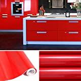 Meubles De Salon Best Deals - 5M Papier Peint Adhésif Rouleaux Reconditionné pour Armoires de Cuisine en PVC Self Adhesive Autocollant Meubles Porte Mur Placards Stickers Mural rouge
