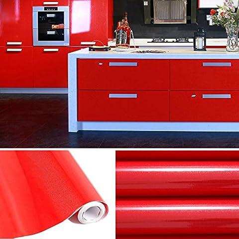 AuraLum® Selbstklebend Küchenschrank-Aufkleber PVC Tapeten Rollen für Möbel Küche Schrank 61cm x 5m Aufkleber Folie Möbel Schrank Tür Papier für Wandplakate - Rot