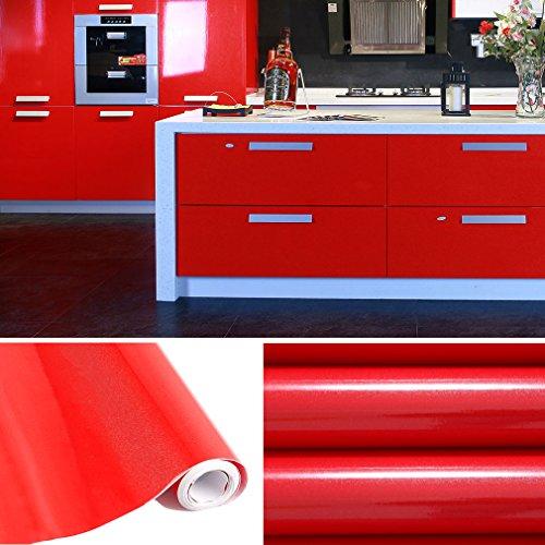 AuraLum® Selbstklebend Küchenschrank-Aufkleber PVC Tapeten Rollen für Möbel Küche Schrank 61cm x 5m Aufkleber Folie Möbel Schrank Tür Papier für Wandplakate - Rot (Papier-möbel)