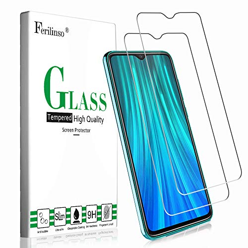 Ferilinso Cristal Templado para Xiaomi Redmi Note 8 Pro, [2 Pack] Protector de Pantalla Screen Protector con garantía de reemplazo de por Vida para Cristal Templado Xiaomi Redmi Note 8 Pro