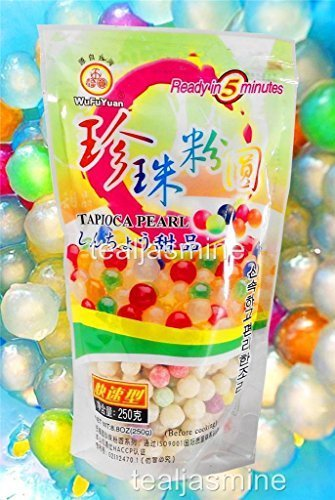 Multi-Color Tapioca Pearl Boba Bubble Tea WuFuYuan Ready in 5 Minutes 8.8 Oz. by Brand New