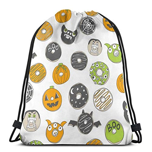 Halloween Donuts Fall Autumn Food Cute Spooky Scar Gym Sack Bag Drawstring Sport Beach Travel Outdoor Backpack for Women 17 X 14 Inch