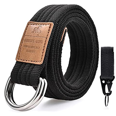 Mens Canvas Web Cloth Belts Military Double Loop Buckle Webbed Webbing Work Fabric Belt Casual Unisex 51
