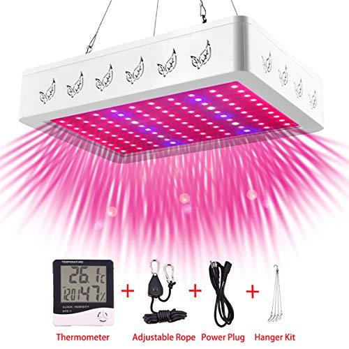 OOYCYOO 1000W LED Pflanzenlampe Vollem Spektrum LED Grow Light 10W-Chips Pflanzenlicht Grow Lamp mit UV & IR und mit Rope Hanger und Thermometer,für Zimmerpflanzen,Gemüse und Blumen(1000W)