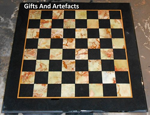 24in Top Square (61cm quadratisch schwarz Marmor Utility Cum Chess Tisch Top und dekorative Masterpiece)