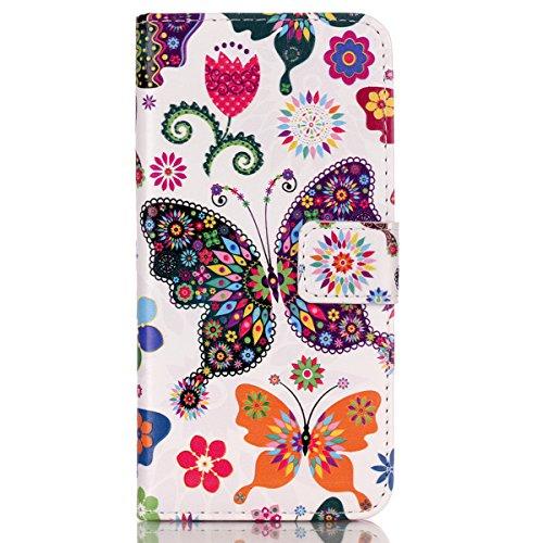 HB-Int 3 in 1 Custodia per Apple iPhone 5C Borsa in Pelle Cover Colorato Pattern Chiaro Shell Custodia Protettiva Portafoglio Stand Case Book Style con Carte di Credito Copertura Magnetico Flip Wallet Farfalla