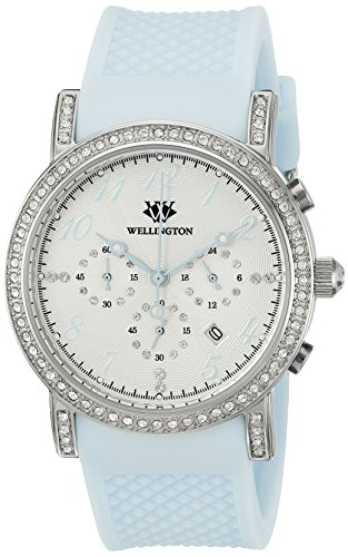 Wellington Amberley WN505-113 - Reloj analógico de cuarzo para mujer con correa de silicona, color azul