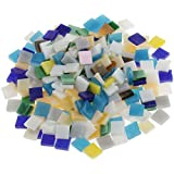 [Sponsored]Segolike 250 Pieces Colorful Square Vitreous Glass Mosaic Tiles Pieces For DIY Art And Crafts Supplies 10x10mm - Multicolor