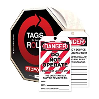 Accuform Signs TAR470 Tags By-The-Roll Lockout Tags, Legend