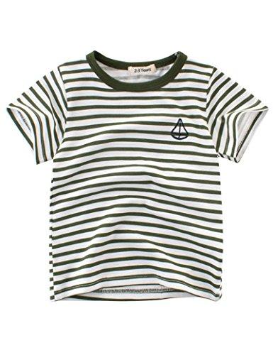 BesserBay Mädchen Streifen T-Shirt Crewneck Kurzarmshirt Grün 2-3 Jahre (Tee Fisch Sleeve Short)