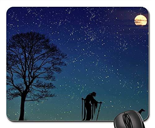 Gaming-Mauspads, Mauspad, The Witch Dog Mond Baum Landschaft -