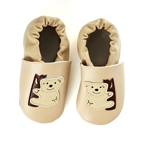 smileBaby Premium Leder Lauflernschuhe Krabbelschuhe Babyschuhe Beige Koala 0 bis 6 Monate