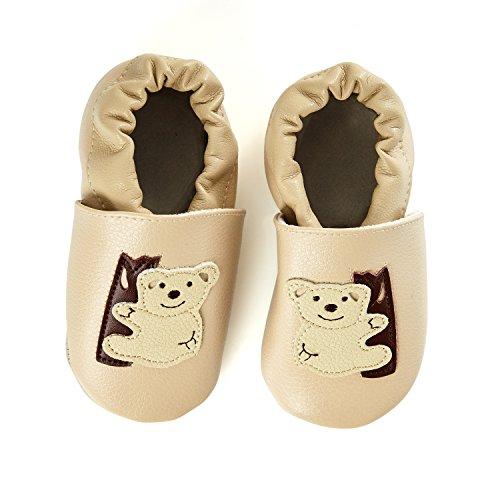 smileBaby Premium Leder Lauflernschuhe Krabbelschuhe Babyschuhe Beige Koala 0 bis 6 - Koala Baby-schuhe Für Mädchen