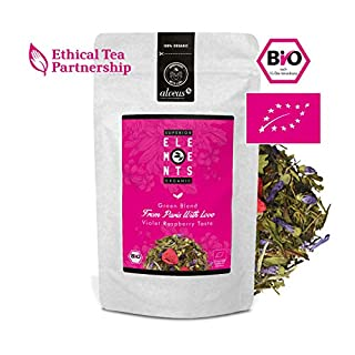 alveus® From Paris with Love Superior Organics Elements: Loose tea blend with green tea (China Sencha, Pai Mu Tan, China White Monkey), raspberry and mallow, 100g bag