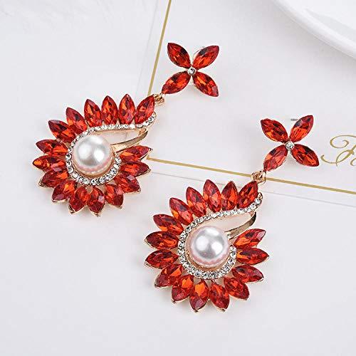 MFNGISHC Lussuosi Orecchini di Perle di Rubino Grandi Temperamento esagerato Orecchini Femminili @ Rosso