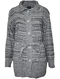 e231d39b6756 WOMENS LADIES GRANDAD CARDIGAN LONG SLEEVE BELTED BUTTON CHUNKY KNITTED  JUMPER