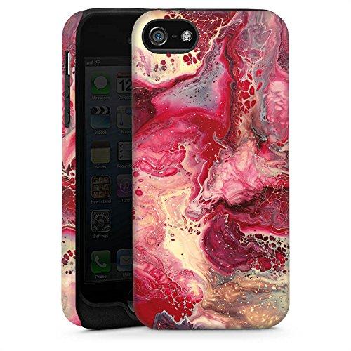 Apple iPhone 4 Housse Étui Silicone Coque Protection Marbre Structure Rouge Cas Tough brillant
