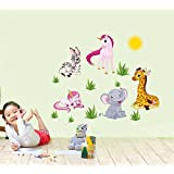 Ascent Decals Cute Cartoon Animals Wall Sticker For Kids Bedroom (Vinyl 130 Cm X 60 Cm)