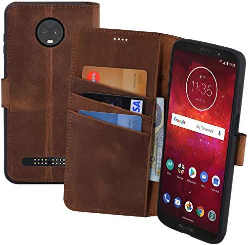 Suncase Book-Style Echt Leder Tasche für Motorola Moto Z3 Play Schutzhülle (Slim-Fit) Wallet Case Hülle (mit Standfunktion und Kartenfach - Bruchfester Innenschale) in Antik-Coffee